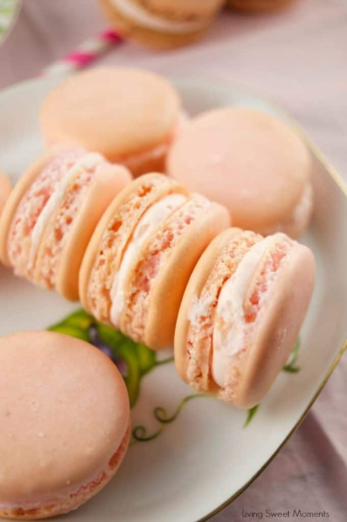 strawberry macarons on a plate