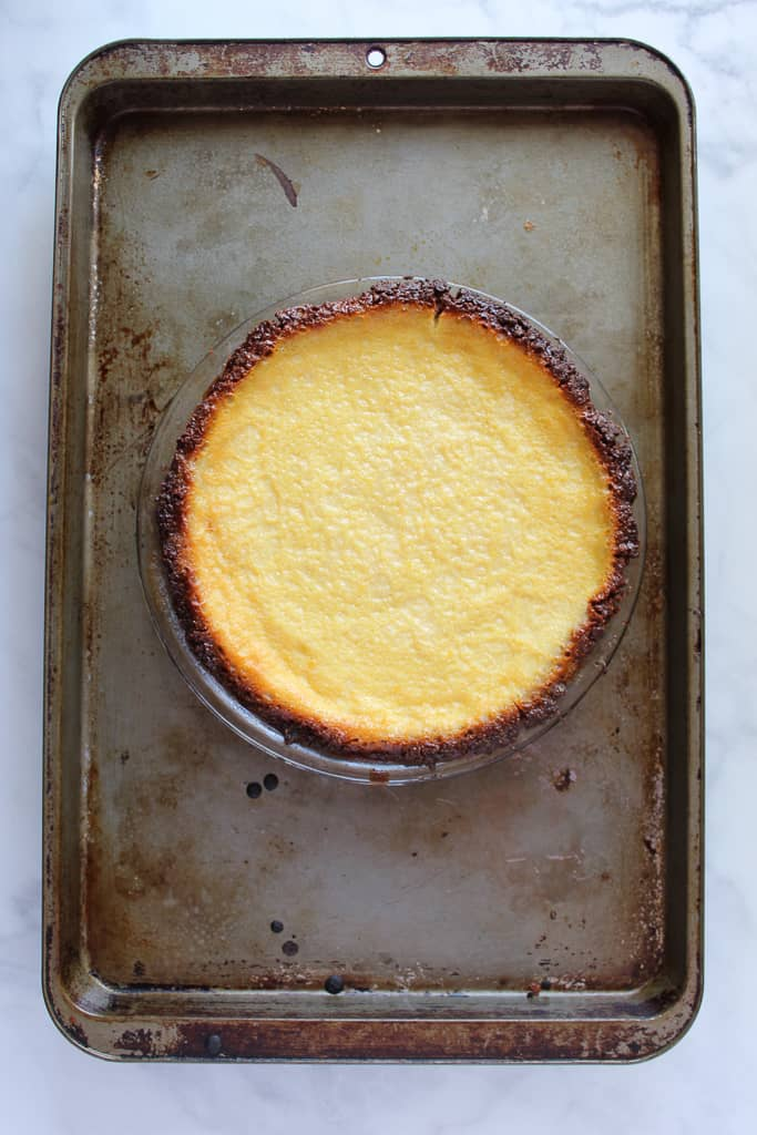 gluten free buttermilk pie on a baking sheet