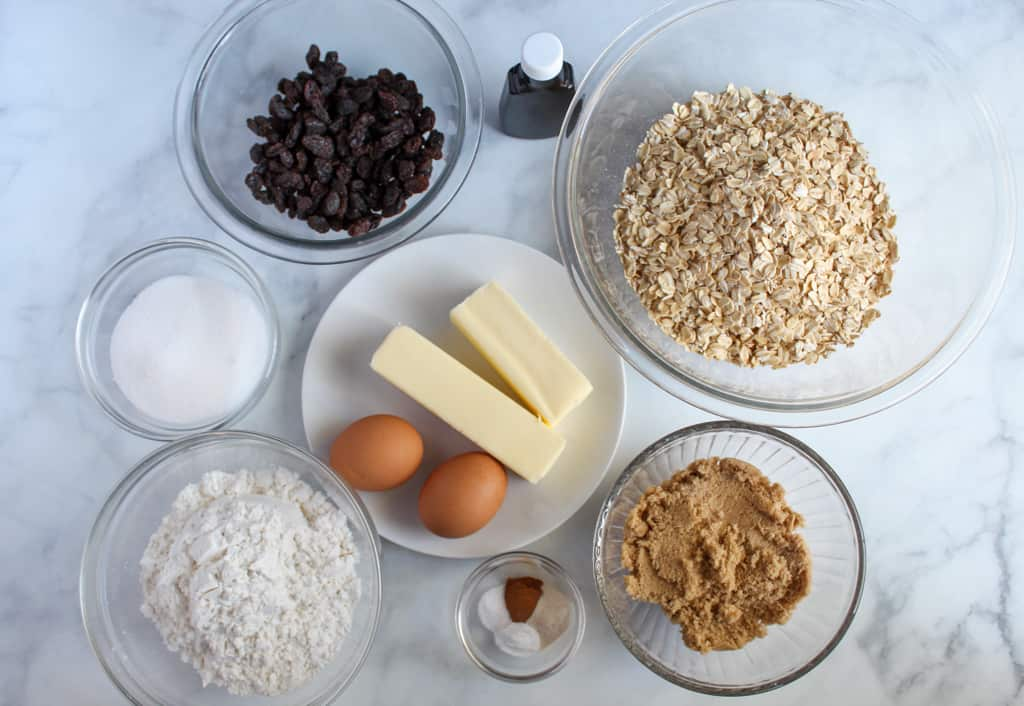 ingredients for gluten free oatmeal cookies sitting on a white counter