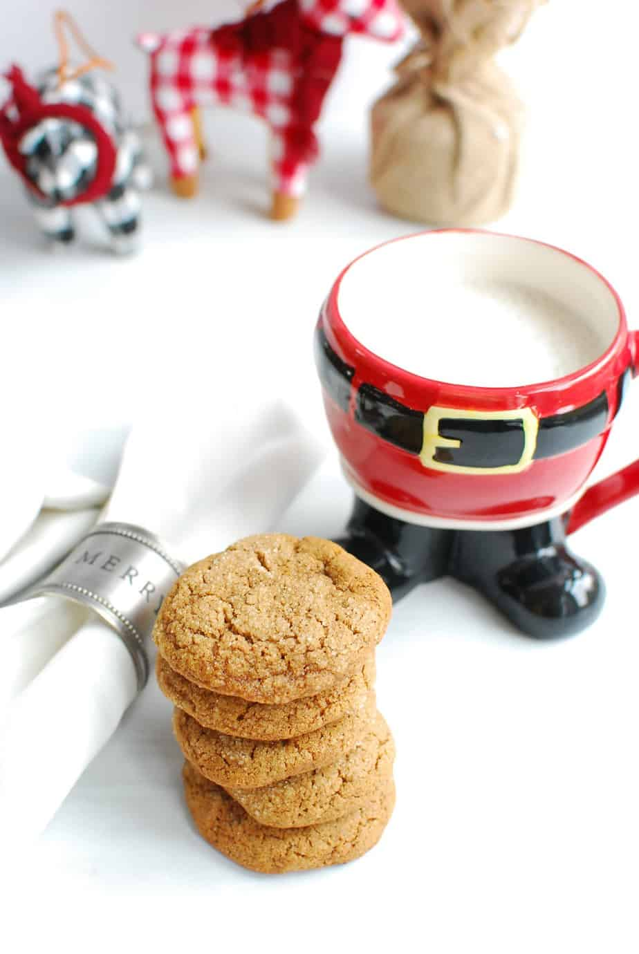 gluten free dairy free christmas cookies on a white plate