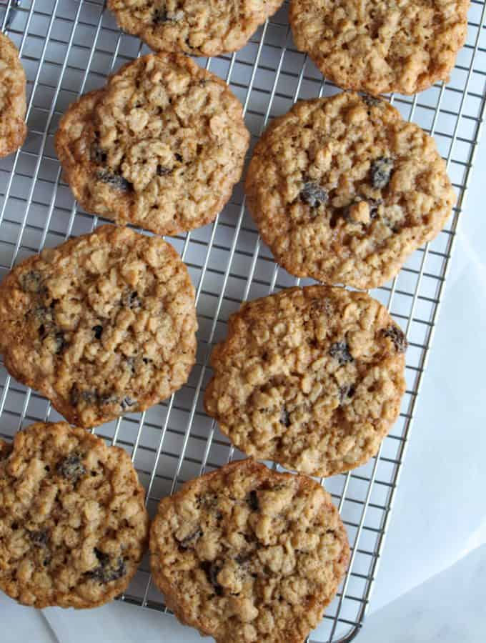 gluten free oatmeal raisin cookies on a wire cooling rack