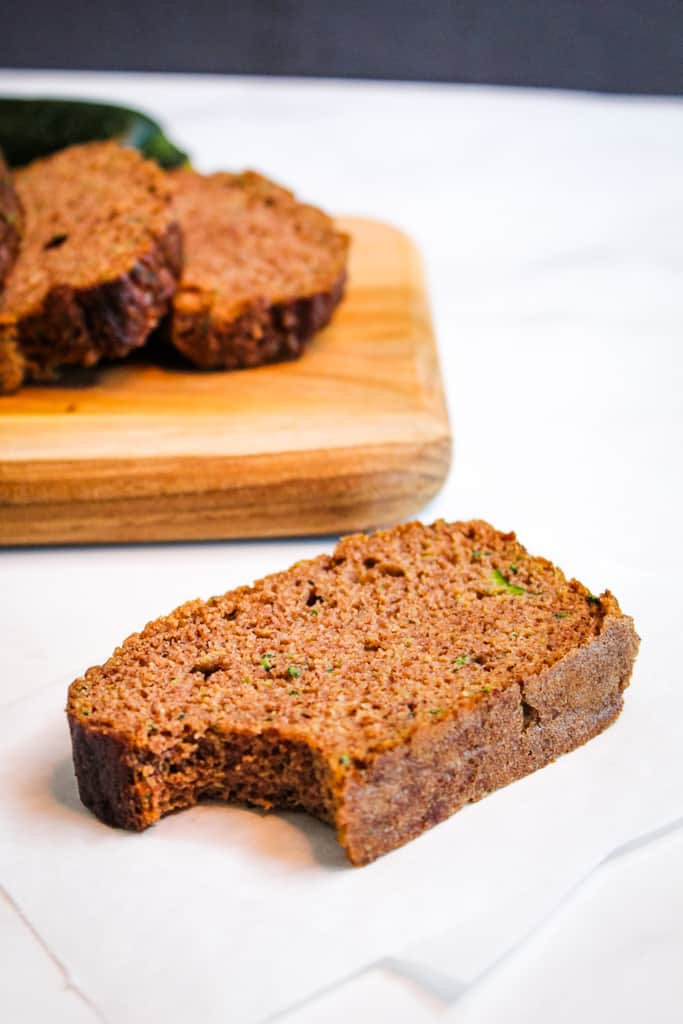 coconut flour zucchini bread sliced to serve