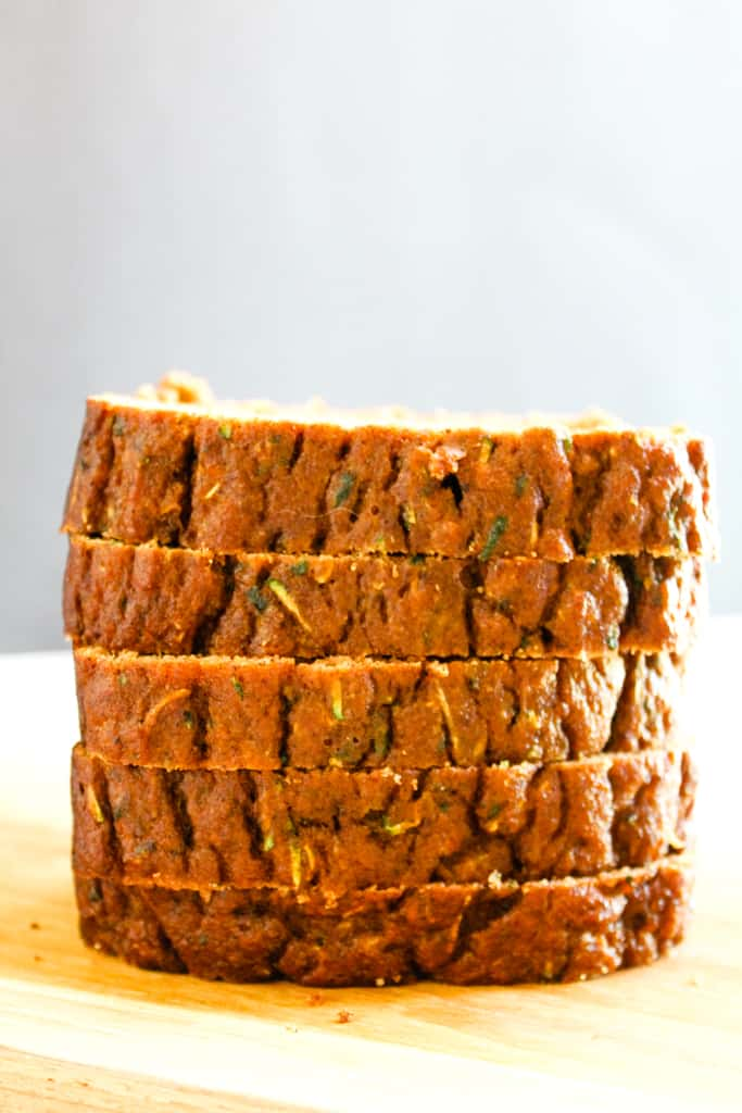 coconut flour zucchini bread stacked