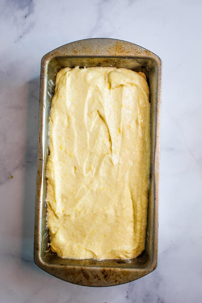 gluten free lemon pound cake in a baking pan