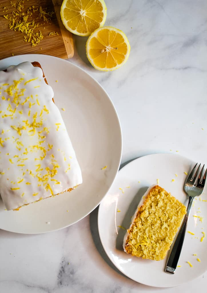 gluten free lemon pound cake served on a plate