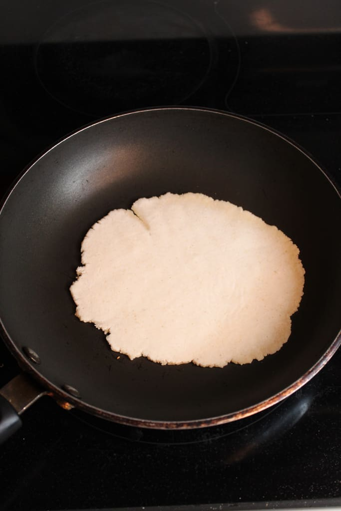 cassava flour tortillas in skillet