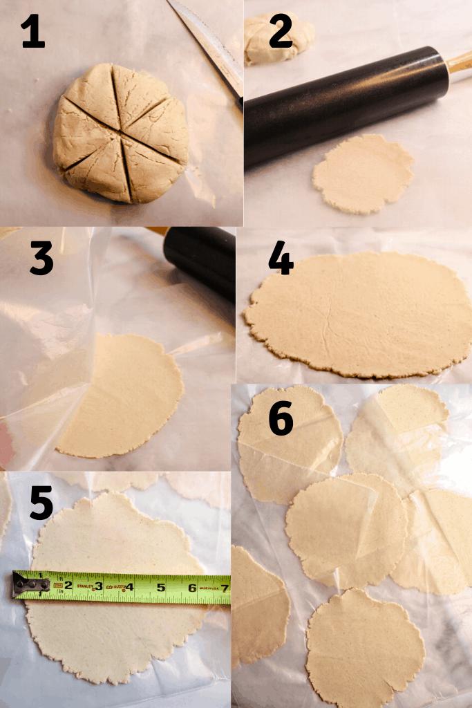 cassava flour tortillas rolling process