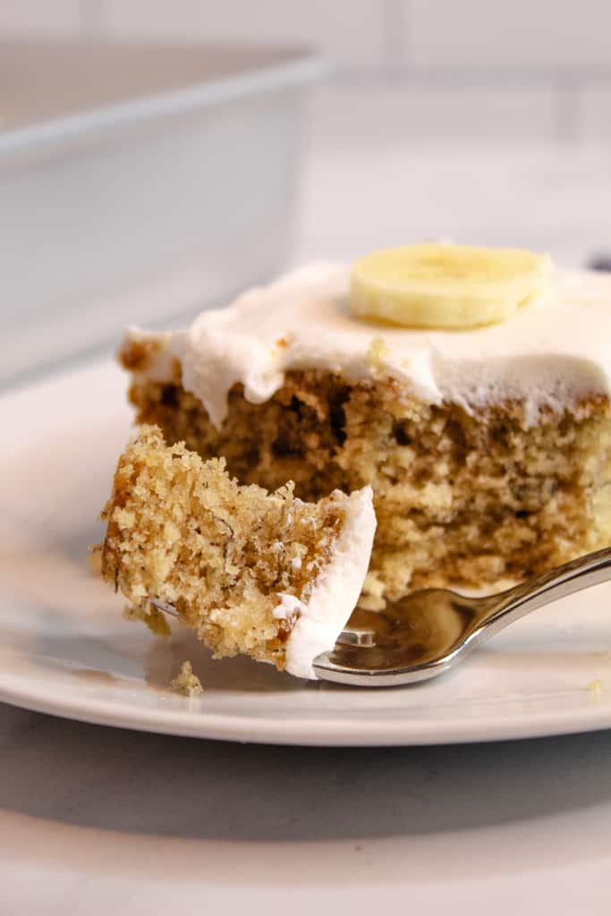 gluten free banana cake bite on a white plate