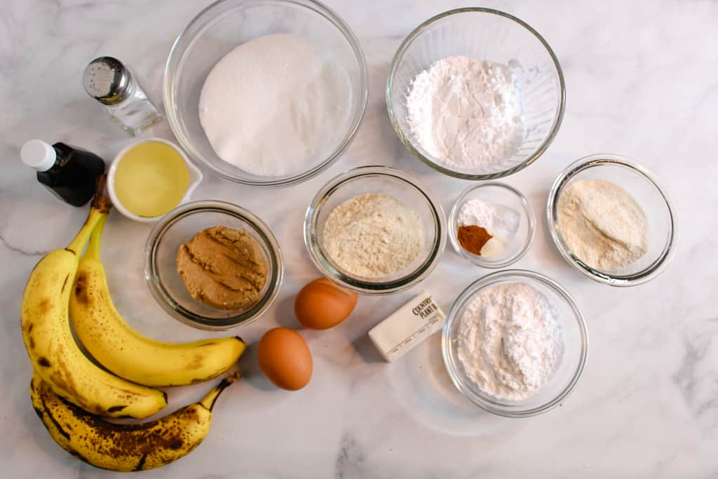 gluten free banana cake ingredients set out
