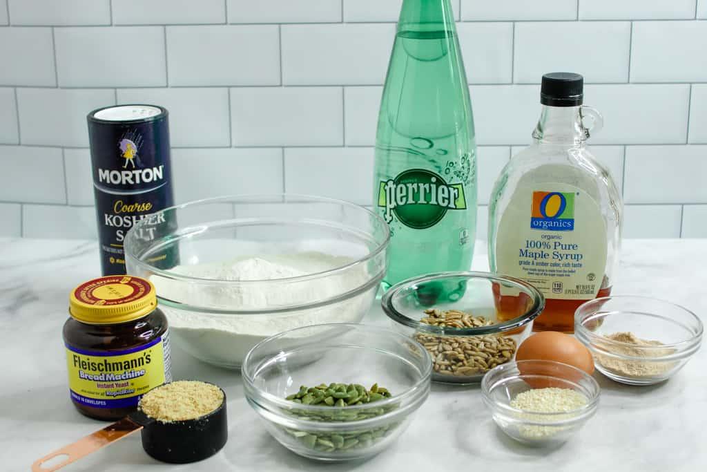 Gluten Free Buckwheat Bread ingredients on a countertop
