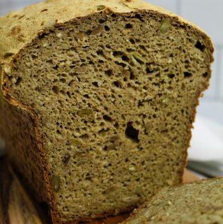 Gluten Free Buckwheat Bread sliced on a cutting board