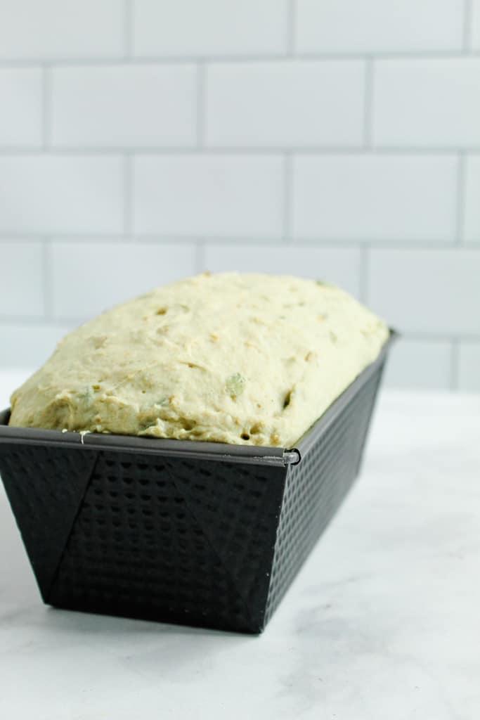 Gluten Free Buckwheat Bread risen ready to bake