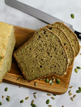 Gluten Free Buckwheat Bread sliced on a cutting board