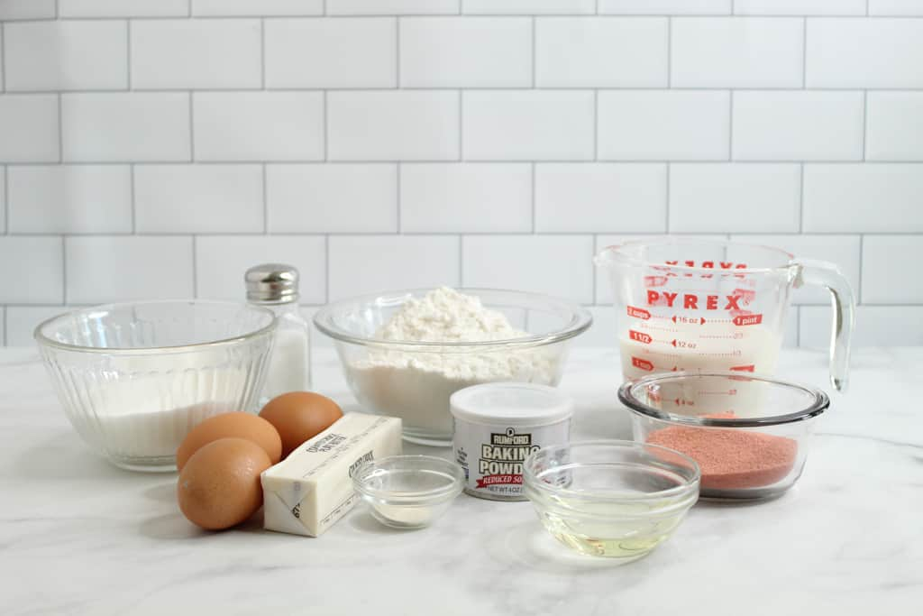 gluten free strawberry cake ingredients on a counter
