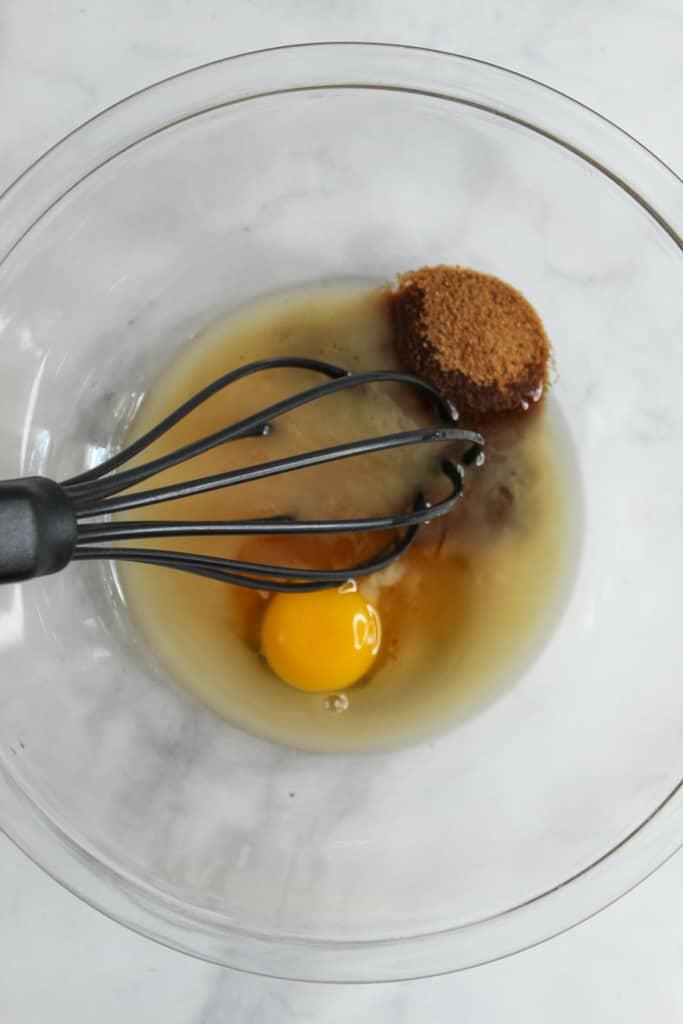 almond flour sugar cookies liquid in a glass bowl