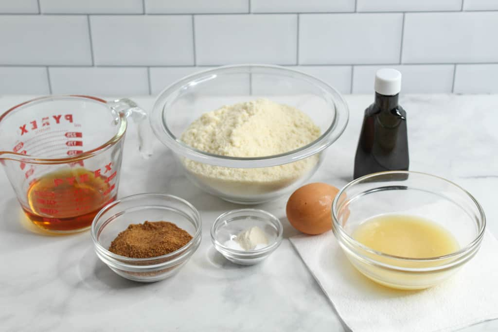 almond flour sugar cookies ingredients on a counter