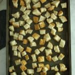 Gluten Free French Toast Casserole bread cubes on a pan