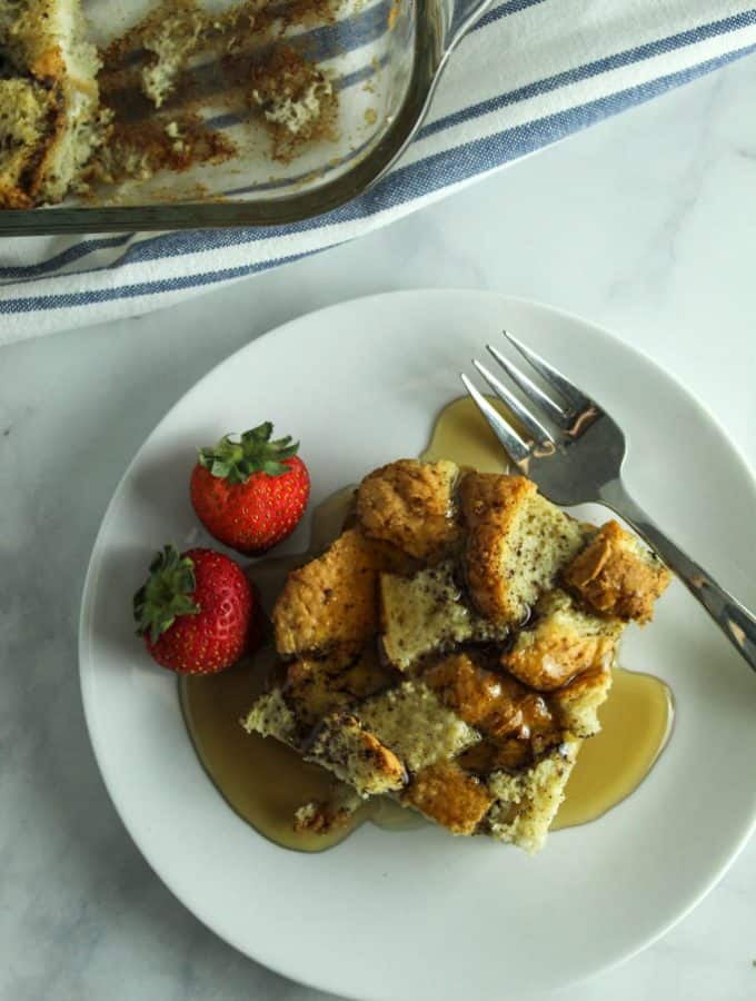 gluten free french toast casserole served on a white plate