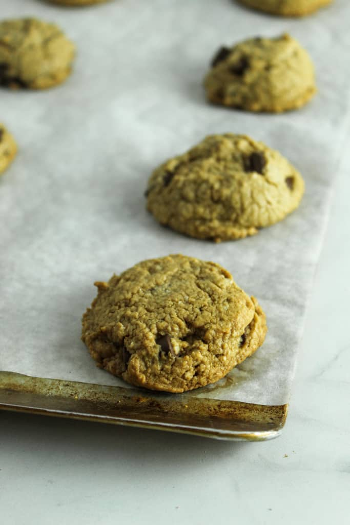 gluten free peanut butter chocolate chip cookies on a sheet