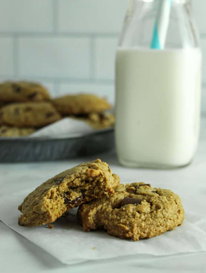 Gluten Free Peanut Butter Chocolate Chip Cookies {Dairy Free}