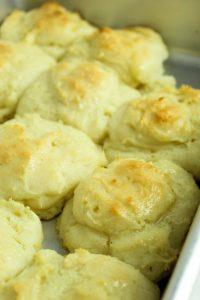 gluten free potato rolls up close after baking