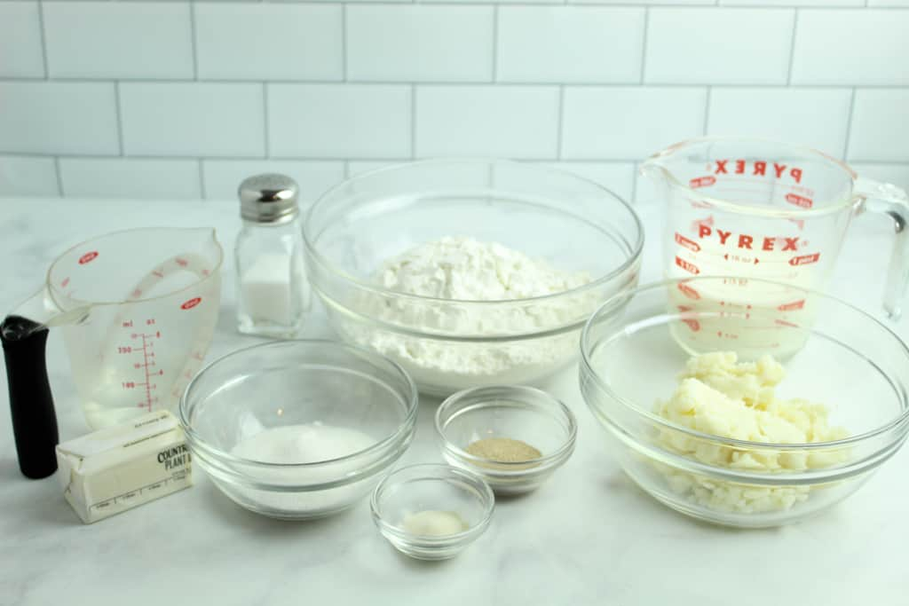 gluten free potato rolls ingredients on a counter