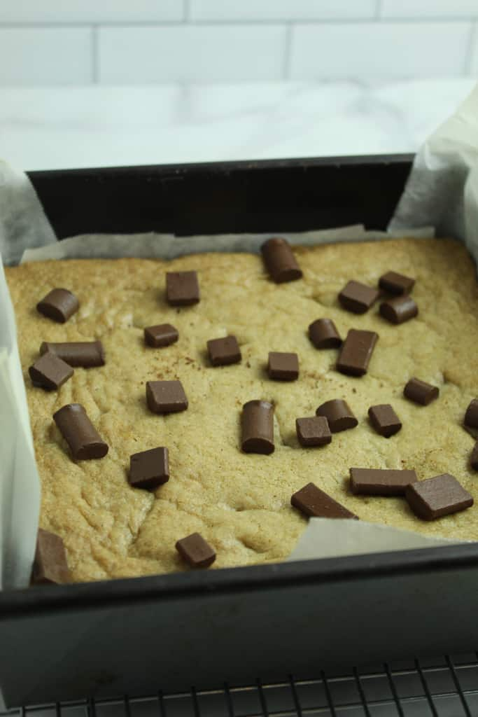 gluten free blondie baked and cooling