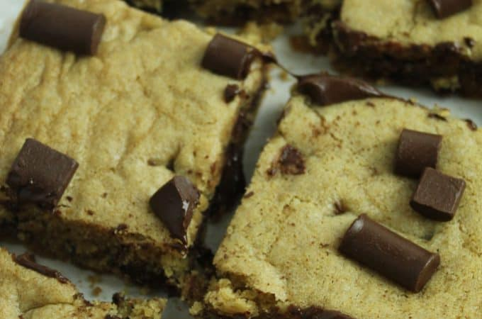 sliced gluten free blondies up close