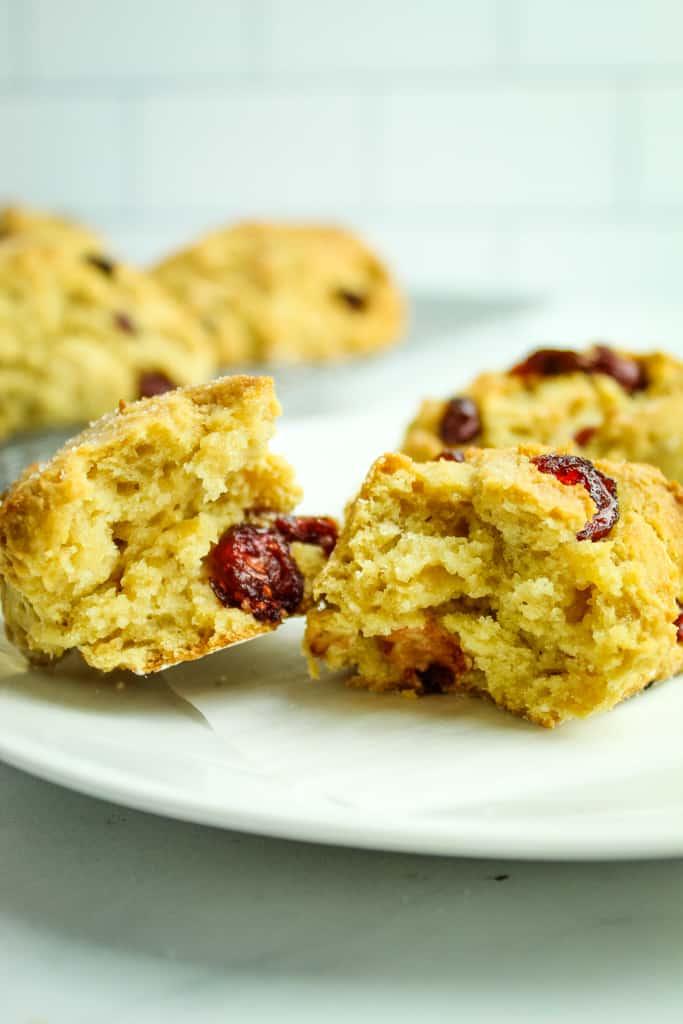 gluten free cranberry orange scones inside