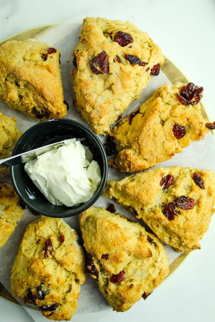 gluten free cranberry orange scones served