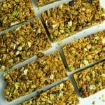 homemade granola bars baked up close