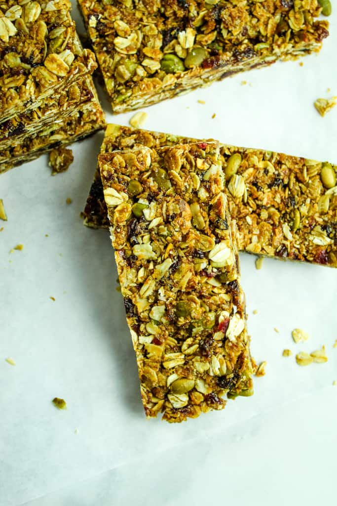 homemade granola bars sliced
