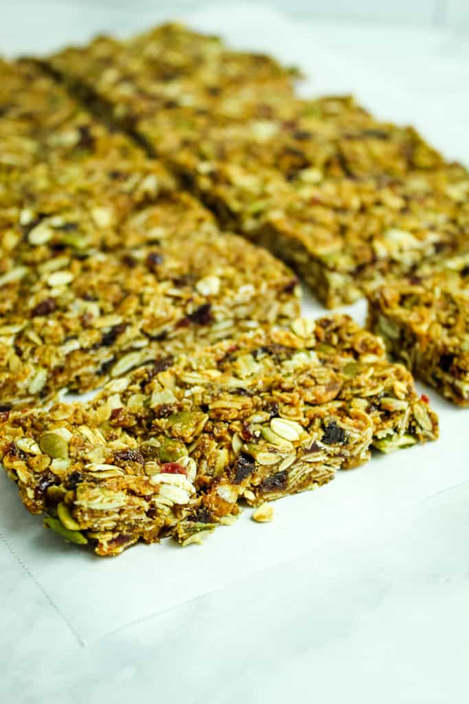 homemade granola bars up close