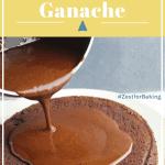 pin of chocolate ganache poured onto a cake