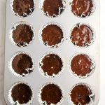 overhead shot of cupcakes in tin