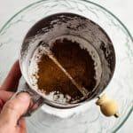 overhead shot of sifting powdered sugar