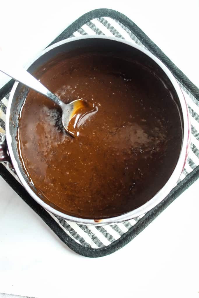 overhead shot of chocolate ganache ready to use