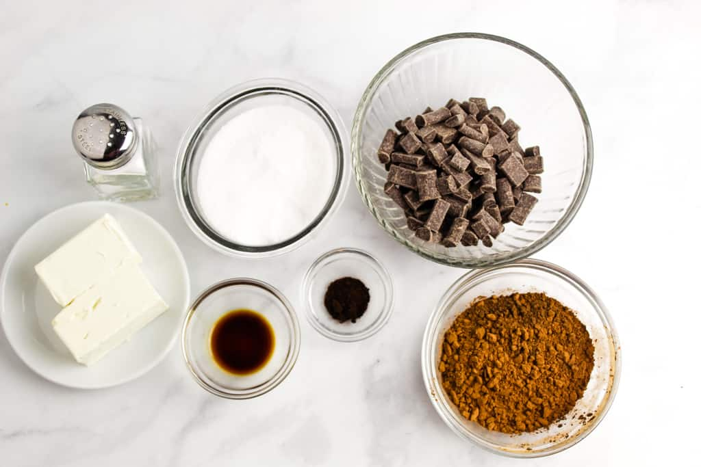 overhead shot of flourless chocolate cake ingredients