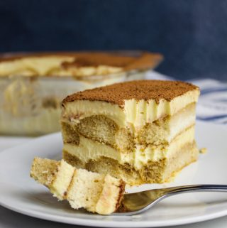 side shot of slice of tiramisu