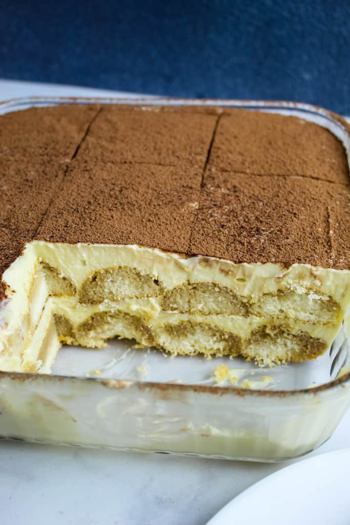 side shot of tiramisu