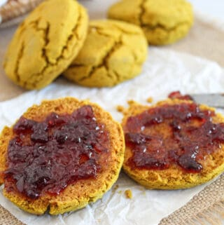 up close of buckwheat biscuits with jelly
