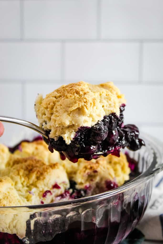 large scoop of blueberry cobbler