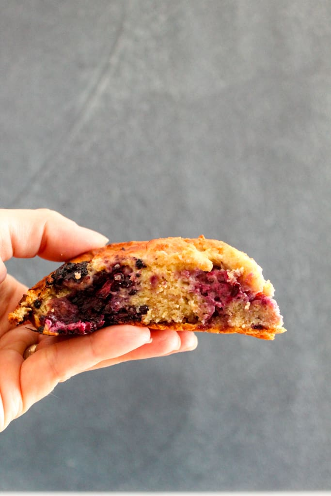 side shot of scone in a hand