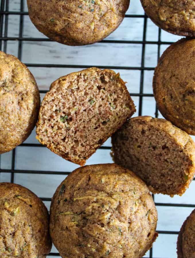 up close shot of a cut open muffin