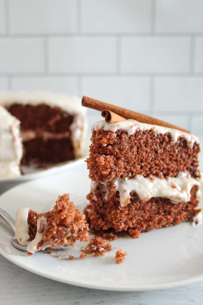 up close shot of a slice of cake