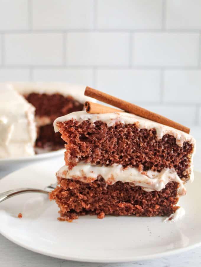 up close shot of slice of spice cake