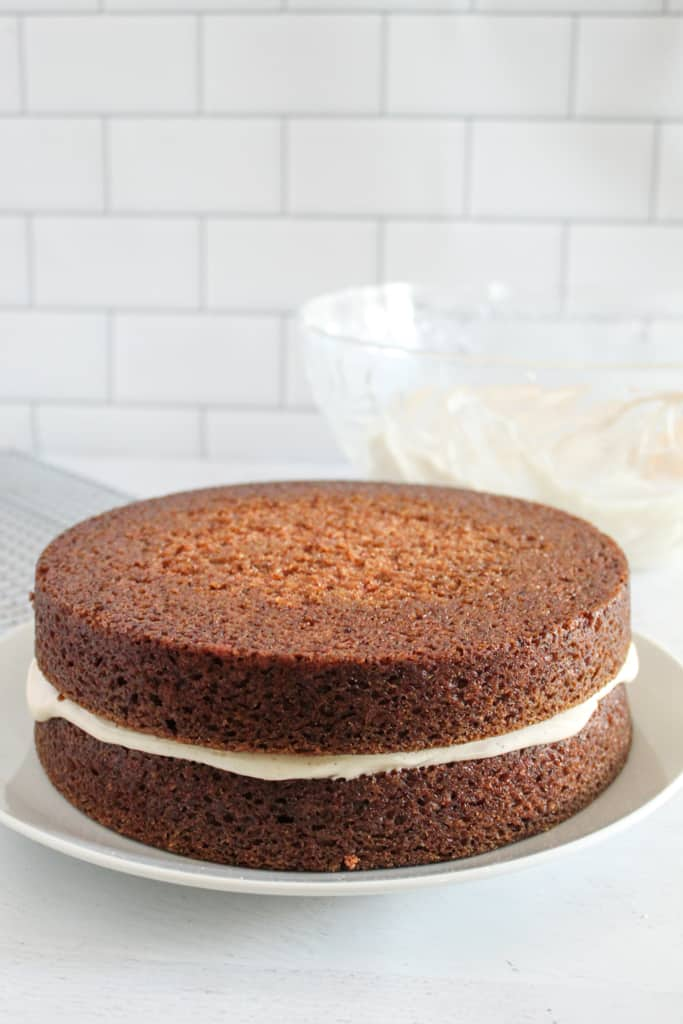 cake sitting on a plate before frosting