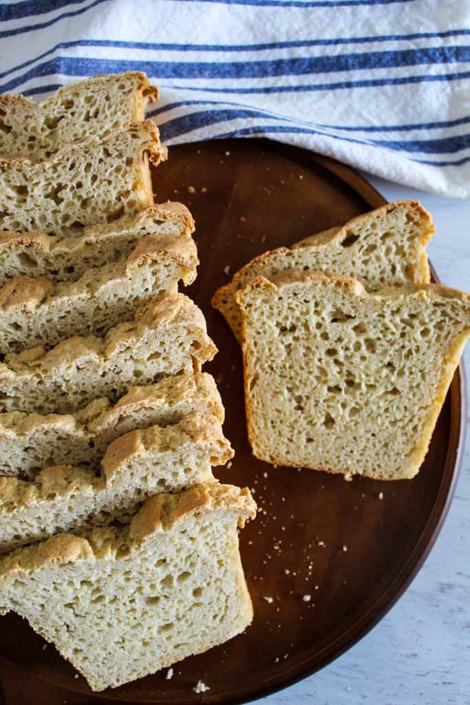 overhead shot of sliced loaf of bread