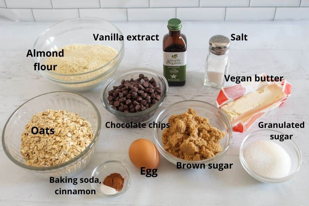 labeled ingredients on a white counter