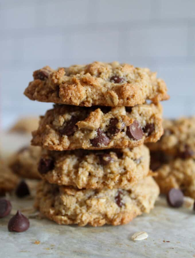 side shot of stacked cookies